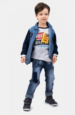 Сорочка текстильная джинсовая для мальчиков - фото 1